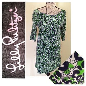 LILLY PULITZER CASSIE DRESS LARGE GREEN CHEETAH